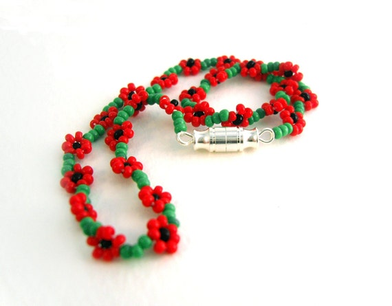 Red Beaded Ankle Bracelet, Poppy Anklet, Seed Bead Anklet, Summer Fashion UK