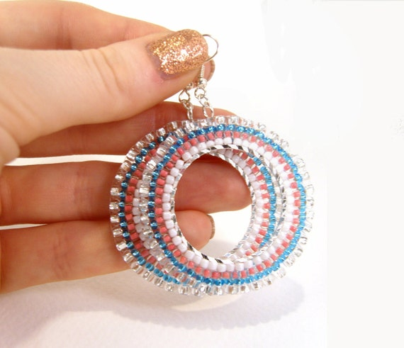 Glass Bead Hoops: Retro Beadwoven Pink Blue & White Dangly Earrings Seed Beads, UK Seller