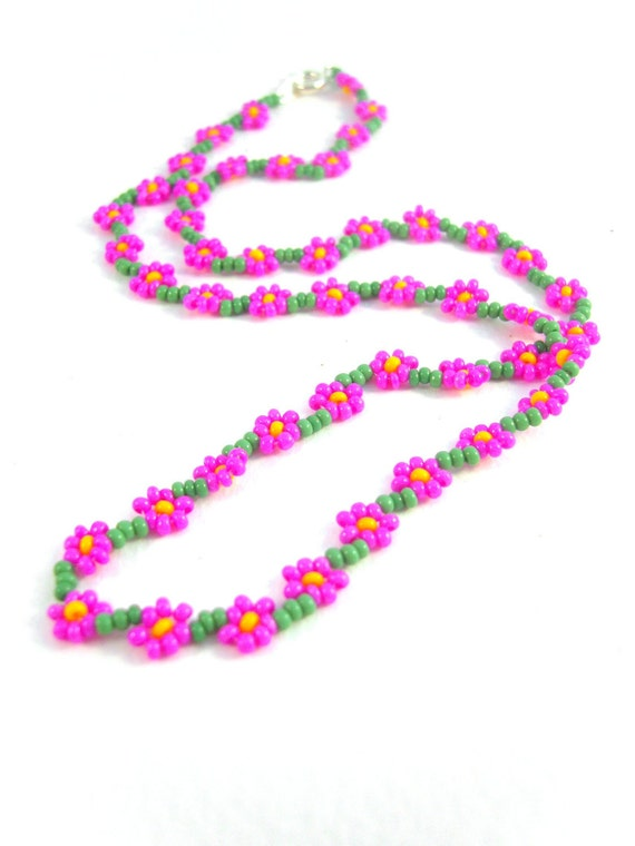 Seed Bead Flower Necklace, Hot Pink Beaded Necklace, Neon Pink Daisy Necklace UK