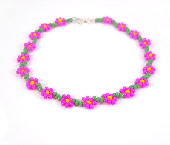 Beaded Flower Bracelet: Hot Pink Bracelet, Fuschia Pink Flower Jewelry, UK Seller