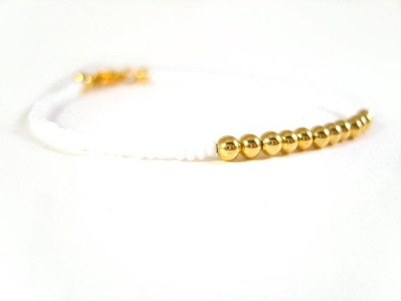 Layering Bracelet: Seed Bead Friendship Bracelet, White and Gold Bead Bracelet UK