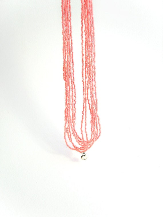 Multistrand Seed Bead Necklace: Coral Beaded Necklace, Silver Heart Charm, UK Seller