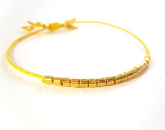 Yellow Friendship Bracelet, Gold Bead Bracelet, Cotton Cord Bracelet 24K Stacking Bracelet