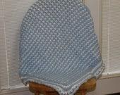 Crochet Light Blue and White Reversible Baby Afghan / Blanket