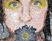 Expressive Glass Mosaic Portrait