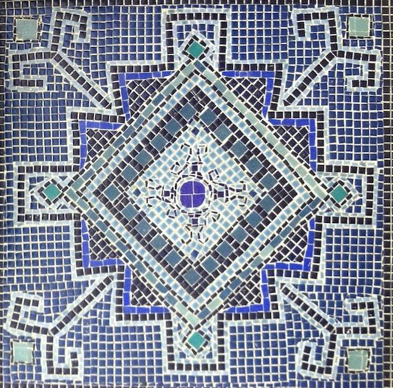 25% OFF SALE  Monochromatic Blue Ceramic Mosaic.