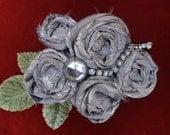Shabby Chic Fabric Flower Brooch, Vintage Rhinestones, Boho Chic Jewelry, Vegan Brooch, Upcycled Fabric Brooch, Silver Fabric Brooch