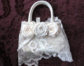 White Vintage Lace Purse, Recycled Shabby Chic