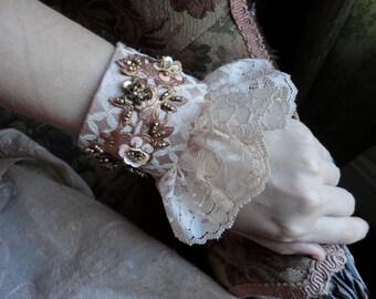 Lace Cuff Bracelet, Fabric Cuff, Wedding Statement Romantic Bracelet, Handmade Bracelet, Lace Bracelet, Marie Antoinette