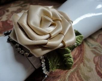 Black Leather Cuff Bracelet, Boho Leather Cuff, Rose and Rhinestone Jewelry Cuff, Urban Chic Bracelet, Tough and Tender Look, Romantic Cuff