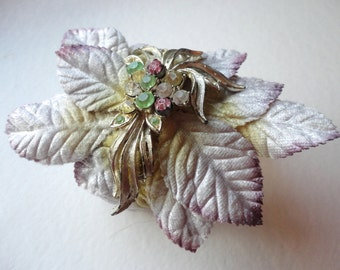 Unique Bohemian Rose Leaf Cuff Bracelet, Gold and Silver Velvet Leaves, One of a Kind Statement Bracelet Cuff, Unusual Jewelry, Romantic