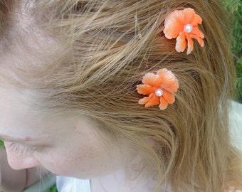 Coral Flower Bobby Pins from Vintage Earrings, One Pair, Orange Bobbies, Wedding Hair Pins, Boho Bobbie Pins, Flower Bobby Pins
