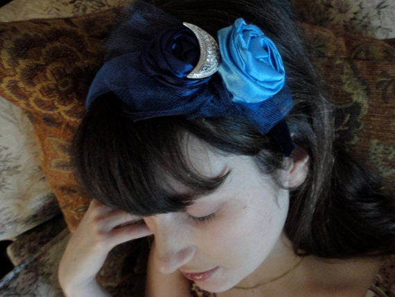 Blue Velvet Headband Embellished with Shabby Roses and a Silver Crescent