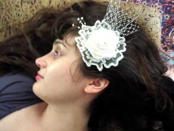 Satin Flower Wedding Hair Accessory, Brooch, Pin