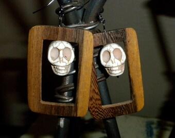 Skull and Wood Earrings
