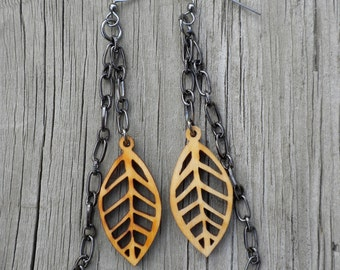 Leaf and Chain Earrings