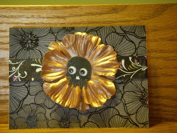 Black Skull Flower card