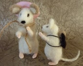 Needle Felted Mice 'First Day At School'' OOAK by Dee P
