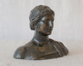 Bronze Female Bust with Natural Patina
