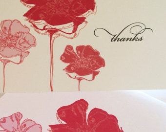 Thank You Notes with Red Poppy Flowers