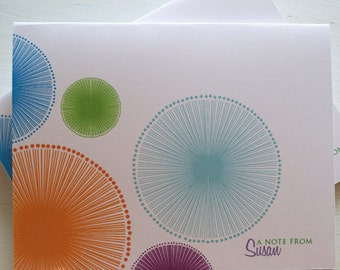 Quirky Circle Personalized Note Card Set