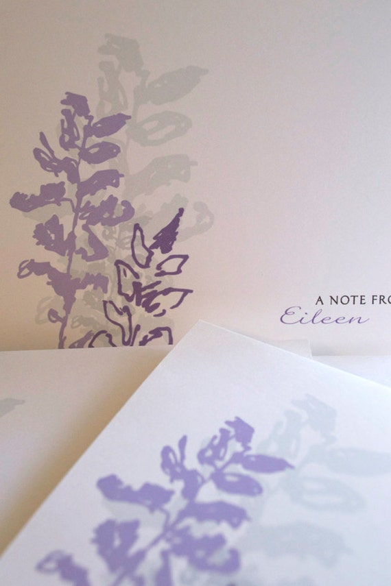 Lavender Flower Personalized Note Card Set - Lavender Sketched Note Cards - Flower Personalized Note Card Set - Purple and Lavender Notes