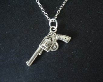 Gun Charm Necklace in Sterling Silver Chain