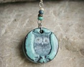 Small Owl Polymer Clay Pendant Necklace in Aqua Blue