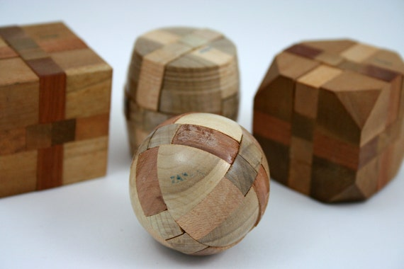 Vintage Japanese Wood Puzzle Instant Collection, cube, sphere, ball, barrel, octagon