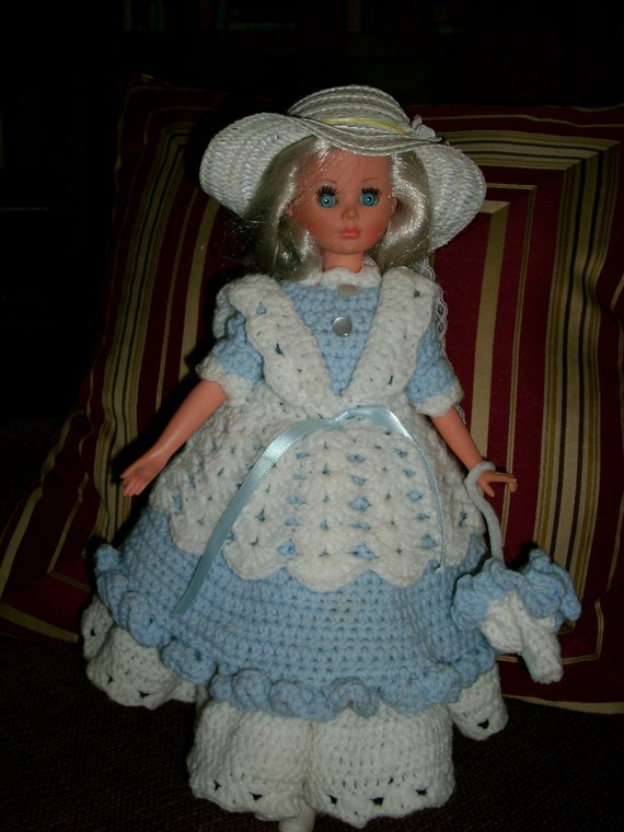 Winter Clearence Sale, Southern Belle Doll Ceramic Head, Crocheted Dress, Complete with Doll Stand