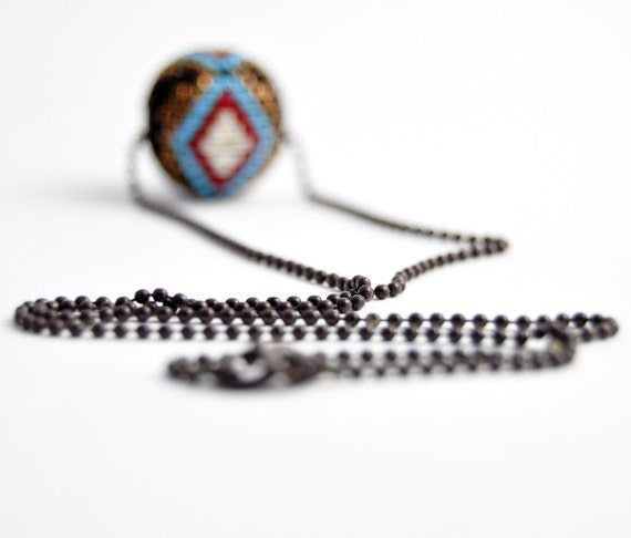 Sale -  Beaded bead necklace with oxidized sterling silver ball chain