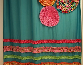 Items similar to pink ruffles shower curtain 70 quot x72 quot custom ruffle