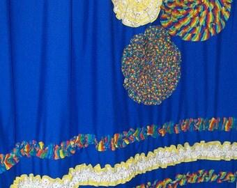 Shower Curtain Custom Made Ruffles and Flowers Designer Fabric Primary Blue, Yellow, Red