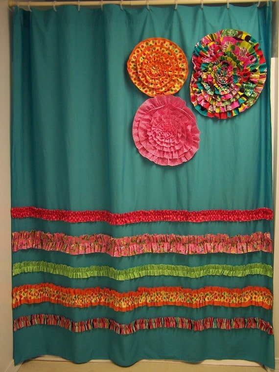Shower Curtain Custom Made Designer Fabric Ruffles and Flowers Aqua Teal Pink Orange Bright and Fun