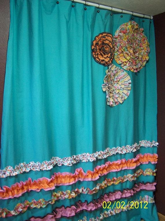 Curtains Ideas gray and orange shower curtain : Shower Curtain Custom Made Designer Fabric by CountryRuffles