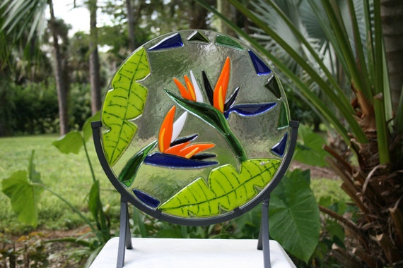 CARNIVAL Art glass fused stained glass cut Bird of Paradise flower sculpture tropical home decor bright colorful
