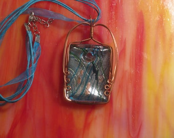 Handmade Wire Wrapped Copper and Sky Blue Lampworked Glass Pendant - Rectangle