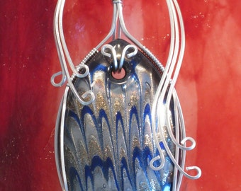 "Handmade Silver wire wrapped, copper, silver and cobalt blue Lampworked Glass Pendant - ""Ocean Waves"""