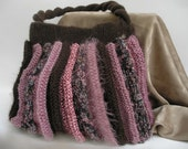 Chocolate brown and mauve hand knit purse