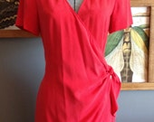 1980s Vintage Wrap Dress / Red Dress / S