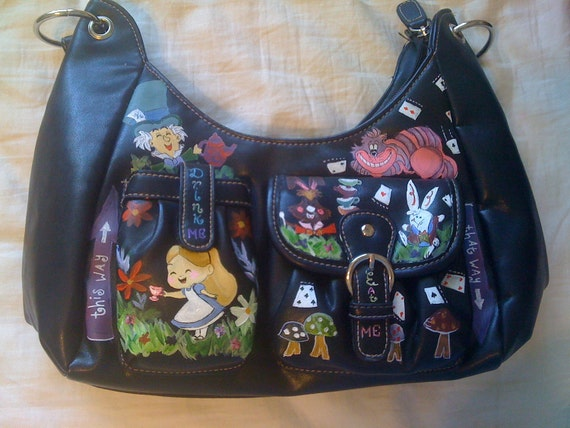 New Hand Painted Disney's Alice and Wonderland Leather Purse