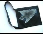 Personalized Halloween bag - medium black bag, glow in the dark ghost, metalic sparkle paint