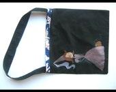 Childrens trick or treat bag, personalized, black bag, princess, halloween fabric