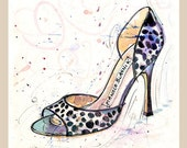 Fine Art SHOE PRINT of Manolo Blahnik dalmation shoes painting  A4
