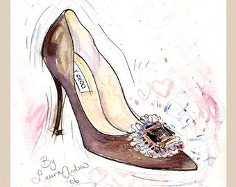 Fine Art SHOE PRINT - of Jimmy Choo shoes painting,  By Laura Andrew A4