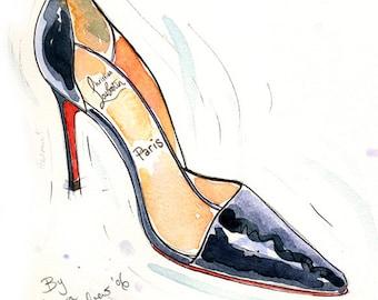 Fine Art SHOE PRINT of Christian Louboutin shoes painting 'Helmut' A4