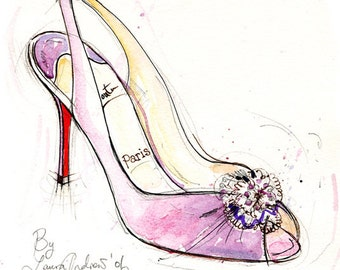 Fine Art SHOE PRINT of Christian Louboutin shoes painting Pink size A4