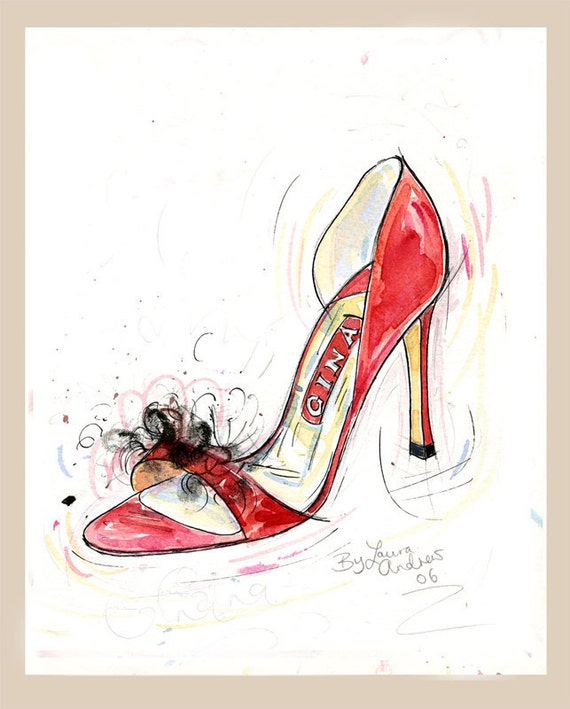Fine Art SHOE PRINT of Gina shoes painting, red 'Tullula' shoes size A4