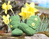 Kelly Green Crochet Baby Booties, Approximately 0 to 6 Months - Ugg Inspired - READY TO SHIP