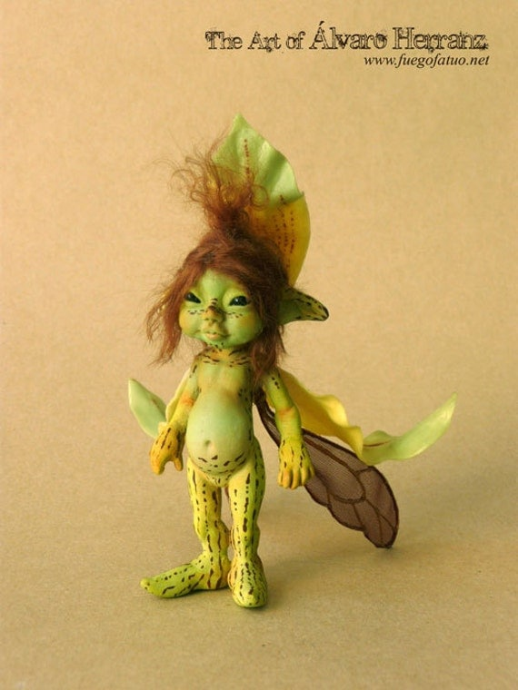 RESERVED for ilovegemstones- Do NOT BUY - Final Payment - Green striped orchid sprite - Resin casted ooak art doll